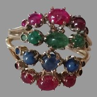14k Ruby, Sapphire,and Emerald Haram Ring