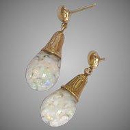 Antique 14k Horace Welch Floating Opal Earrings