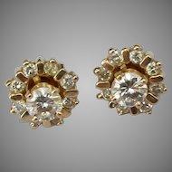 14k Diamond Halo Earrings