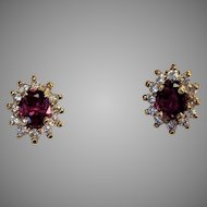 14k 1+ctw Ruby Diamond Halo Earrings