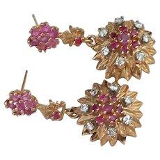 14k Ruby Diamond Dangle Earrings