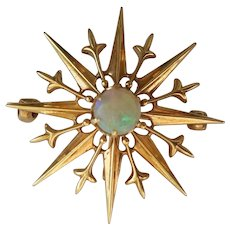 14k Antique Opal Sunburst Pendant/Brooch