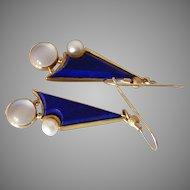 Long 14k Lapis Moonstone and Pearl Studio Earrings