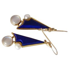 Long 14k Lapis Moonstone and Pearl Studio Earrings