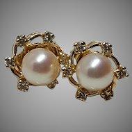 18k Mikimoto Pearl and Diamond Earrings