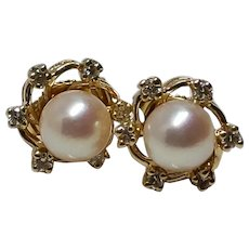 18k Mikimoto Pearl and Diamond Earrings