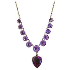 Antique Gold Amethyst Heart Necklace