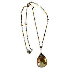 14k Heavy Enamel Citrine Drop Necklace