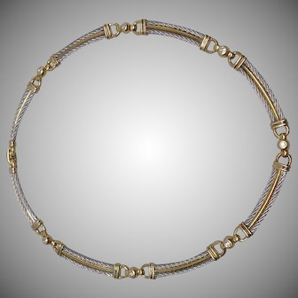Designer Philippe Charriol 18k Steel and Diamond Necklace