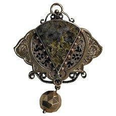 Antique Gold in Quartz Pendant/Brooch