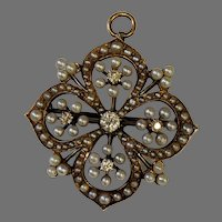 14k Pendant or Brooch with Mine Cut Diamonds and Pearls