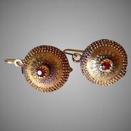 18k Etruscan Garnet Earrings