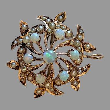 14k Antique Fleur-de-lis Opal & Pearl Pendant/Brooch