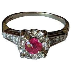 14k Ruby Diamond Halo Ring