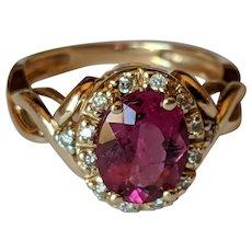 14k Tourmaline Diamond Halo Ring