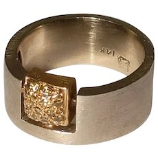 14k Yellow Diamond Geometric Contemporary Ring