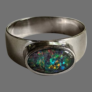 Designer JBS 18k Black Opal Ring
