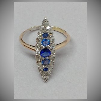 14k Ceylone Sapphire & Rose Cut Diamond Navette Ring