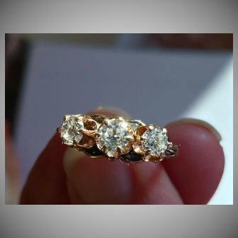 14k European Cut Diamond Ring