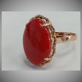 Large 14k Natural Coral Ring