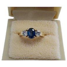 18k Classic  Diamond Sapphire Ring