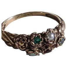 10k Floral Gemstone Ring