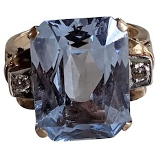 14k Blue Spinel Diamond Ring