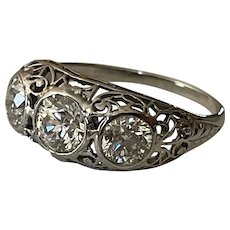 Antique Platinum VVS Transitional Diamond Ring