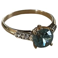 14k Blue Zircon Diamond Ring