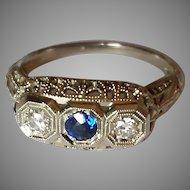 Antique 18k Diamond Sapphire Ring