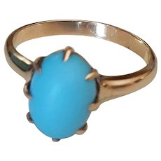 Heavy Domed 14k Persian Turquoise Ring