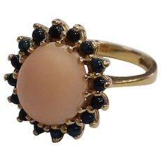 14k Angel Skin Sapphire Halo Ring
