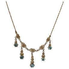 10k Blue Zircon Necklace