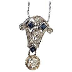 14k Euro Diamond and Sapphire Necklace