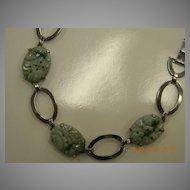 Deco Sterling Asian Carved Jade Panel Bracelet
