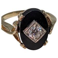 10k Onyx OMC Diamond Ring