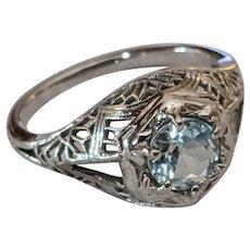 18k Antique Aquamarine Filigree Ring