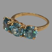 14k Old Euro Cut Chunky Blue Zircon Ring