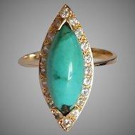 18k Turquoise Diamond Halo Ring