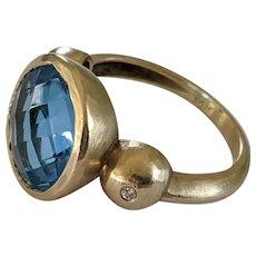 14k London Blue Topaz & Diamond Ring