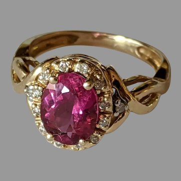 14k Pink Tourmaline Diamond Halo Ring