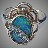 14k Diamond Solid Black Opal Ring