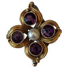 14k Amethyst Pearl Ring