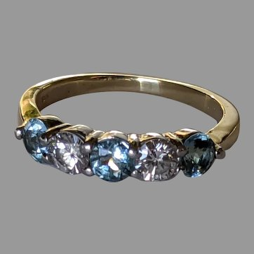 1.25ctw 18k Platinum Diamond Aquamarine Ring