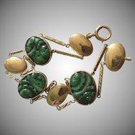 10k Jade Carved Jade Panel Bracelet