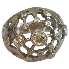 French Platinum Euro Cut Diamond Bomb Ring