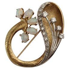 Heavy 18k Mid-Century  Opal & Diamond Brooch