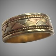 14K Tri Colored Basket Weave Band