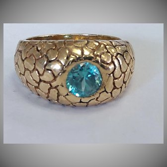 Heavy 14k Blue Zircon Ring