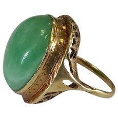 14k Apple Jade Ring